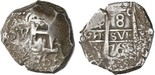 Potosi, Bolivia, cob 8 reales, 1766V-Y. VF, especially bold pillar side with clear date and assayer, some encrustation all over, partial cross with clear date below.