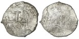 """Potosi, Bolivia, cob 8 reales, 1670E, with """"Golden Fleece"""" countermark (Brabant, Spanish Netherlands, 48 patards, 1652-1672) on cross side, rare. S-P37b; KM-26; CT-345. 26.50 grams. Choice high grade (AU), with luster, the countermark (MS) unusually complete, some flat areas but with full crown and bold CARO of king's name, latest-date host we have ever seen for this curious Brabant issue that was enacted in response to the Potosi mint scandal and transition of 1652."""