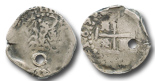 Potosi, Bolivia, cob 1/2 real, 1656 (date in legend), distinctive monogram superimposed on cross with 4 dots, rare.