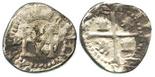 Potosi, Bolivia, cob 1/2 real, Philip II, assayer B to left of monogram (5th period).