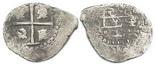 Potosi, Bolivia, cob 1/2 real, (1656), distinctive monogram superimposed on cross with 4 dots, rare.