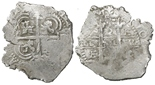 Potosi, Bolivia, cob 2 reales, Philip IV, assayer E (1660s).