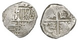 Potosi, Bolivia, cob 4 reales, Philip IV, assayer not visible, quadrants of cross transposed. Bold full cross, nearly full shield, lightly toned AVF with whitish sediment in crevices.