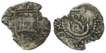 Potosi, Bolivia, cob 1/4 real, Philip II, assayer R (Rincon) to left, mintmark P to right, rare.