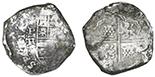 Potosi, Bolivia, cob 8 reales, Philip IV, assayer TR (large).