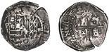 Potosi, Bolivia, cob 2 reales, Philip II, assayer B (5th period).