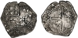 Potosi, Bolivia, cob 2 reales, Philip III, assayer R (straight leg, no king's ordinal).