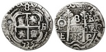 Potosi, Bolivia, cob 8 reales Royal, 1735E. Bold full cross with nice contrast, full but slightly doubled pillars, VF overall with crude old hole near left end of cross / left of pillars, unlisted muling of Lazaro #283 and 284.