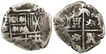 Potosi, Bolivia, cob 2 reales, Philip IV, assayer TR (ca. 1640).