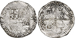 Potosi, Bolivia, cob 4 reales, Philip II, assayer B (2nd period). S-P6; KM-4.2; CT-Type 229. 13.65 grams. XF with traces of luster, black spots in crevices, nice full shield and cross, much legend.