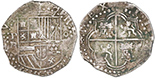 Potosi, Bolivia, cob 4 reales, Philip II, assayer B (3rd period). S-P10; KM-4.2; CT-Type 229. 13.79 grams. Nice XF with choice full shield and cross-lions-castles, bold mintmark but B a little weak, attractively toned with minor verdigris.