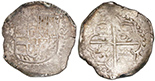 Potosi, Bolivia, cob 8 reales, Philip III, assayer M/Q. S-P18; KM-10; CT-unl. 27.26 grams. Nice full shield and cross, full but weak P�M/Q, lightly struck VF with traces of luster and toning, slightly crude peripheries