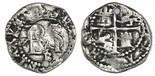 Potosi, Bolivia, cob 1/2 real, Philip II, assayer B below monogram, mintmark P to left.