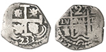 Potosi, Bolivia, cob 2 reales, 1733E.