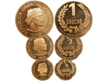 Uruguay (struck in Santiago), 3-coin set of proof 1 gaucho, 1/2 gaucho and 1/4 gaucho, 1992, all encapsulated NGC Ultra Cameo: PF 65, PF 66 and PF 67. KM-110, 109 and 108. A seldom-seen set, with the largest (1 oz) issue having a mintage of only 250 coins, near-perfect proofs with just some slight surface granularity. Gaucho PF 65 NGC 4226251-005. 1/2 Gaucho PF 66 NGC 4226251-004.1/2 Gaucho PF 67 NGC 4226251-001