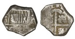 Seville, Spain, cob 4 reales, Philip IV, assayer not visible. Very thick and chunky flan with crude strike (partial shield, most of cross), About Fine with toning and sediment.