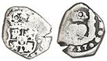 Granada, Spain, 1 real, Ferdinand-Isabel, • flanking shield, G on reverse.