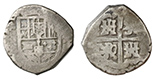 Seville, Spain, cob 2 reales, Philip IV, assayer R.