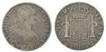 Guatemala, bust 8 reales, Charles IV, 1795M, with engraving in obverse fields: