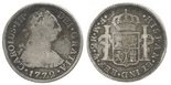 Mexico, bust 2 reales, Charles III, 1772FM, initials facing rim.