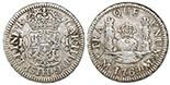 Mexico City, Mexico, pillar 1 real, Ferdinand VI, 1754M.