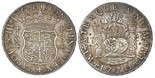 Lima, Peru, pillar 8 reales, Charles III, 1770JM, dot over left mintmark only, engraved with script-MP monogram at top (love-token style) and date 17-89 flanking pillars.
