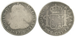 Guatemala, bust 2 reales, Charles IV transitional (bust of Charles III, ordinal IV), 1789(M).