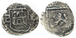 Potosi, Bolivia, cob 1/4 real, Philip II, assayer B  (5th period) to left, mintmark P to right, border of boxes on obverse, large castle, rare.
