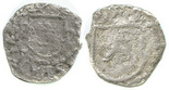 Potosi, Bolivia, cob 1/4 real, Philip II, assayer B  (5th period) to left, mintmark P to right, border of boxes on obverse, rare.