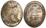 Potosi, Bolivia, oval silver medal, 1859, Industry (2nd class) / Linares.
