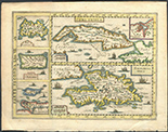 "Italian copperplate-engraved map of Cuba, Hispaniola, Jamaica, Puerto Rico, and Margarita by Gregorio Leti, 1690 (Milan), hand-colored. 10"" x 7-1/2"". Engraving published in Leti's ""Teatro Belgico"" as page 283 showing Cuba (with an insert of Havana), Hispaniola, Jamaica, Puerto Rico and Margarita, with Italian text on the opposite side. High grade map with edge toning and minor spots of foxing in margins."