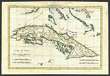 "French copperplate-engraved map of Cuba and the Bahamas by Rigobert Bonne, 1780 (Paris), hand-colored. 12-1/2"" x 8-1/2"". Fairly accurate map of Cuba and the Bahamas (along with some of the Florida Keys and the Cayman Islands) reproduced in Bonne's ""Atlas de Toutes les Parties Connues du Globe Terrestre"" (Bonne served as the Royal Cartographer to France during this time) with a blank reverse including a dealer's pencil annotations in the bottom left corner. Strongly embossed map with a single vertical fold and light abrasion at the center on the word ""Bahama."""