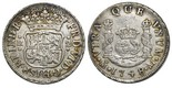 Mexico City, Mexico, pillar 2 reales, Ferdinand VI, 1748/7M, pellets at beginning and end of shield-side legend, very rare. Yonaka-M2-48a; Gilboy-unl; KM-86.1; CT-unl. 6.69 grams. Silvery XF with minor scratches, some rainbow toning at rims, very clear overdate that Yonaka rates as very rare to extremely rare (R3). Pedigreed to the Potomac collection of Mexican pillars.