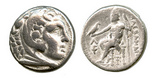 Kingdom of Macedon, AR tetradrachm, Alexander III (the Great), ca. 336-323 BC, Amphipolis mint, Price-468. Head of Herakles right, wearing lion's skin headdress / Zeus seated left, holding eagle in right hand, scepter in left, lambda and torch in left field, cantharus below throne. AVF with minor marks on reverse.