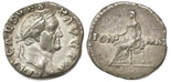 Roman Empire, AR denarius, Vespasian, 69-70 AD.