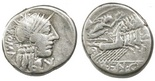 Roman Republic, AR denarius, 211-155 BC, ROMA and biga.
