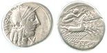 Roman Republic, AR denarius, 211-155 BC, ROMA and quadriga.