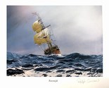 Signed lithograph print of the Rooswijk shipwreck of 1739, limited edition (400 copies made), by artist Ralph Curnow (2006).
