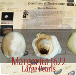 Large pearls from the Santa Margarita (1622), with original Fisher photo-certificates. Sizable pearls (about 5 mm each) with varying colors and sheens, from a find of 16,000 pearls, the largest of which have fetched up to $1380 in our auctions but were originally distributed to investors and divers at prices around $2500 each! 12 available.