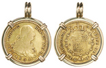 Madrid, Spain, bust 2 escudos, Charles IV, 1801FA, mounted in 14K gold pendant-bezel.