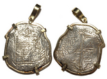 Potosi, Bolivia, cob 8 reales, Philip III, assayer not visible, from the Atocha (1622), Grade 2, no tag or certificate, mounted cross-side out in 14K.