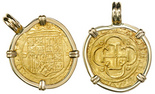 Seville, Spain, cob 1 escudo, Charles-Joanna, assayer Gothic D to left, mintmark S to right, mounted cross-side out in 14K gold pendant-bezel.