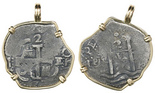 Potosi, Bolivia, cob 2 reales, 1677E, from the Consolacion (1681), mounted cross-side out in 14K gold pendant bezel.