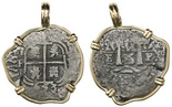 Potosi, Bolivia, cob 1 real, 1653E, from the Consolacion (1681), mounted cross-side out in 14K gold pendant bezel.
