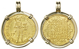 Holland, United Netherlands, ducat, 1729, from the Vliegenthart (1735), mounted in 18K pendant bezel.
