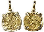 Bogot�, Colombia, cob 2 escudos, Charles II posthumous, from the 1715 Fleet, mounted in 14K bezel with shackle bail. Cross mounted as X.