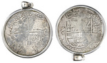 Potosi, Bolivia, cob 8 reales, Philip III, assayer M (pre-dated type), quadrants of cross transposed, from the Atocha (1622), Grade 1, mounted cross-side out in 18K white-gold pendant-bezel.