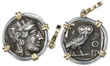 "Attica, Athens, AR tetradrachm ""owl,"" ca. 440-400 BC, mounted owl-side out in silver bezel with 14K gold prongs and bail. Bold full owl and AOE, Athena on the other side full and bold, too, but with old mark on cheek, deeply toned VF."