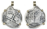 Potosi, Bolivia, cob 8 reales, 1679V, from the Consolacion (1681), with certificate, mounted pillars-side out in silver pendant bezel with 14K gold prongs and bail.