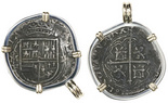 Mexico City, Mexico, cob 2 reales, Philip II, assayer F (oMF to left), mounted cross-side out in silver bezel with 14K gold prongs and bail.
